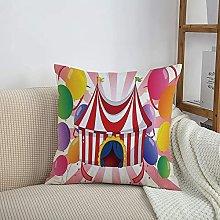 Throw Pillow Cases,Circus Decor,Cartoon of Circus