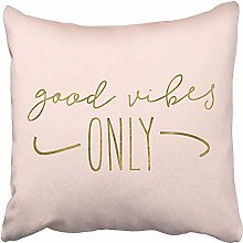 Throw Pillow Cases Pink Lettering Good Vibes Only