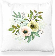 Throw Pillow Cover 18x18 Bouquet Hydrangea Leaves