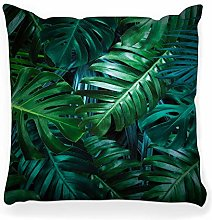 Throw Pillow Cover 18x18 Tropical Leaves Black