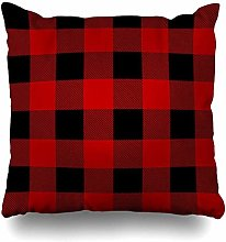 Throw Pillow Cover Abstract Red Check Lumberjack