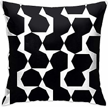 Throw Pillow Cover Black Regular Geometry Bed Sofa