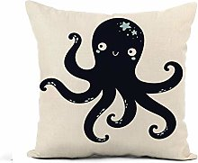 Throw Pillow Cover Blue Baby Cute Octopus Navy