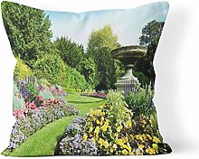 Throw Pillow Cover Blue Flowerbeds and Winding