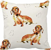 Throw Pillow Cover Brown Adorable Dachshund