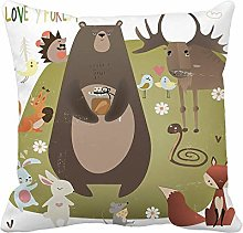 Throw Pillow Cover Brown Woodland Cute Animals