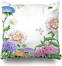 Throw Pillow Cover Bumble Pink Bee Watercolor