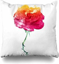 Throw Pillow Cover Color Red Rose Watercolor