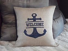 Throw Pillow Cover Custom Navy Blue Welcome