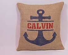 Throw Pillow Cover Custom Personalized Name Navy