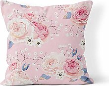 Throw Pillow Cover Pink Flower English Roses