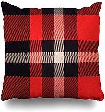 Throw Pillow Cover Realistic Red Black Tartan