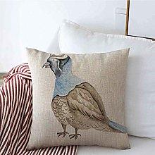 Throw Pillow Cover Song Blue Watercolour Quail