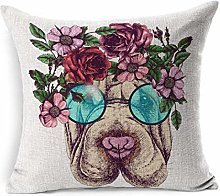 Throw Pillow Cover Square Flowers Hippie Sharpei