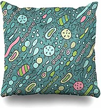 Throw Pillow Cover Square Microbes Decorative