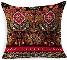 Throw Pillow Cover Square Retro Red Pattern Indian