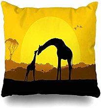 Throw Pillow Covers Africa Orange Giraffe Mother