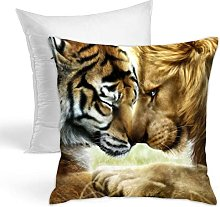 Throw Pillow Tiger And Lion Printing With Pillow