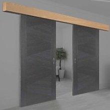 Thruframe Oak Veneer Pelmet Kit for Double Sliding Doors