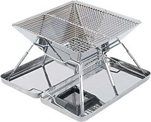 Thsinde - Folding Stainless Steel BBQ Grill, Heavy