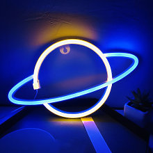 Thsinde - Neon Planet Sign Wall Decor, Battery and