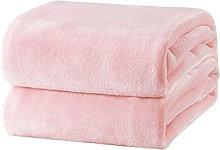 Thsinde - Plaid Fleece Blanket Pink Soft Warm Bed
