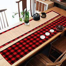 Thsinde - Red and black Christmas tablecloth grid