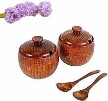 Tiamu Wood Spice Jar with Lid and Spoon, 2Pcs