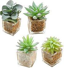 TIANTIAN 4 Pack Artificial Succulent Plants Fake