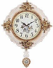 TIANYOU Clock American Style Silent Wall Carved 20