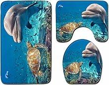 TIANYOU Ocean Pattern Bath Mat Sets,Bathroom