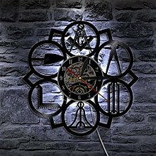 TIANZly Masonic logo 3d wall clock with 7 led