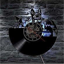 TIANZly Vinyl bulldog Vinyl Record Wall Clock