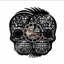 TIANZly Vinyl Record Clock Skull Tattoo Vintage