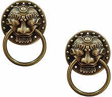 Tiazza 2Pcs Chinese Style Antique Brass Ring Pull