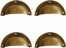 Tiazza 4Pcs Antique Brass Cup Shell Drawer Pulls