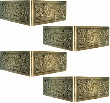 Tiazza 4Pcs Antique Embossing Brass Decorative