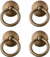 Tiazza 4Pcs Chinese Style Antique Brass Ring Pull