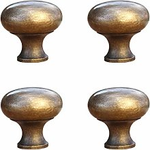Tiazza 4pcs Solid Brass Knobs Antique Cabinet