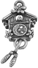 Tibetan Cuckoo Clock Charm Pendants Antique Silver