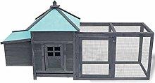 Tidyard Chicken Coop with Nest Box Hen Run Grey