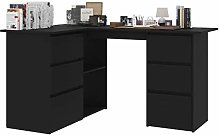 Tidyard Corner Desk Black/Office Desk/Writing Desk