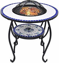 Tidyard Mosaic Fire Pit Table with BBQ Grill