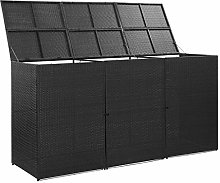 Tidyard Triple Wheelie Bin Shed/Bin Storage Black