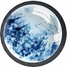 Tie-Dye Pattern of Indigo Color4 pcs Crystal Glass