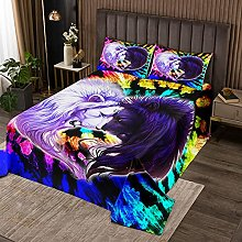 Tie Dye Quilted Bedspread Girls Couple Lions