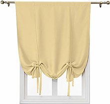 Tie-Up Window Curtains, 1 Panel Rod Pocket Solid