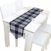 Tiffany Church Long Tablecloth,Blue Tartan Plaid