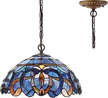 Tiffany Hanging Lamp 16 Inch Pull Chain Blue