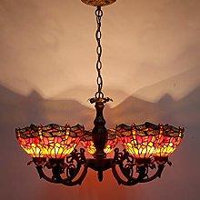 Tiffany Hanging Lamp Chandelier 5 Lights Branch